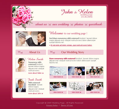 wedding page design free templates online