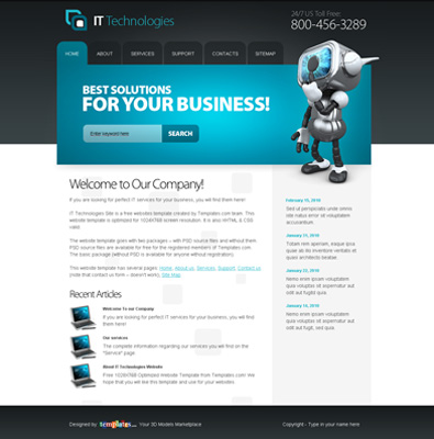 Free Website Template for IT Technologies | Free Templates Online
