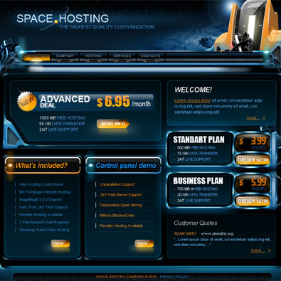 Free Space Hosting Template | Free Templates Online