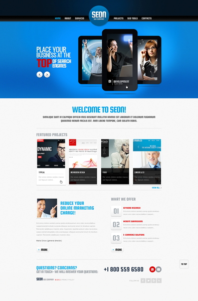 attractive shopping blue css website template free templates online