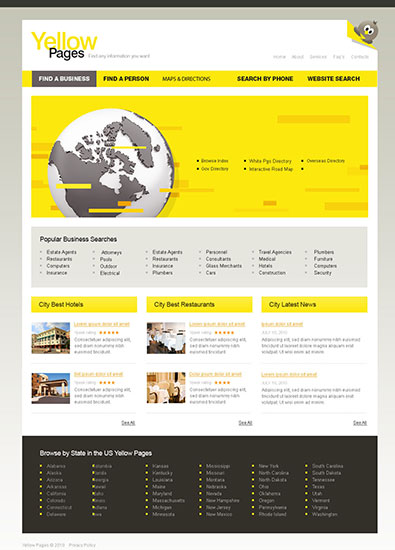 City portal yellow pages free templates online for Free pages templates