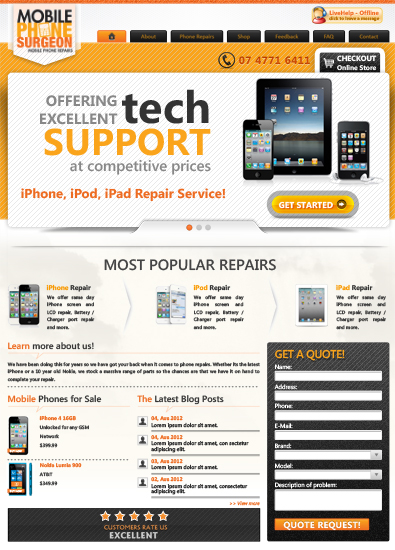 Free mobile phone repair service template free templates for Mobile site template free download
