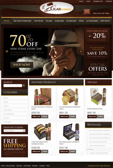 Cigar Online Store Free WordPress Theme | Free Templates Online