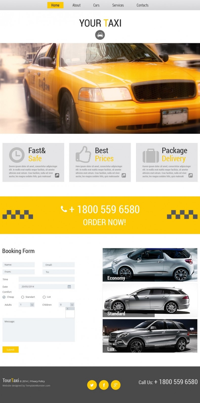Free Website Template for Online Taxi Service | Free Templates Online