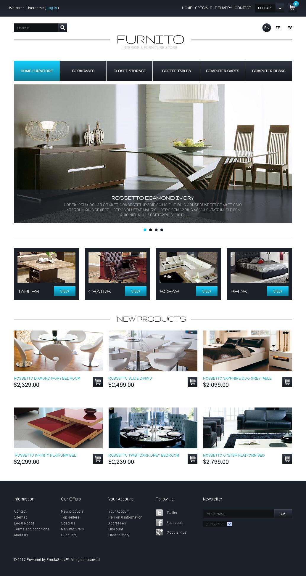 furniture online store free prestashop theme free templates online. Black Bedroom Furniture Sets. Home Design Ideas