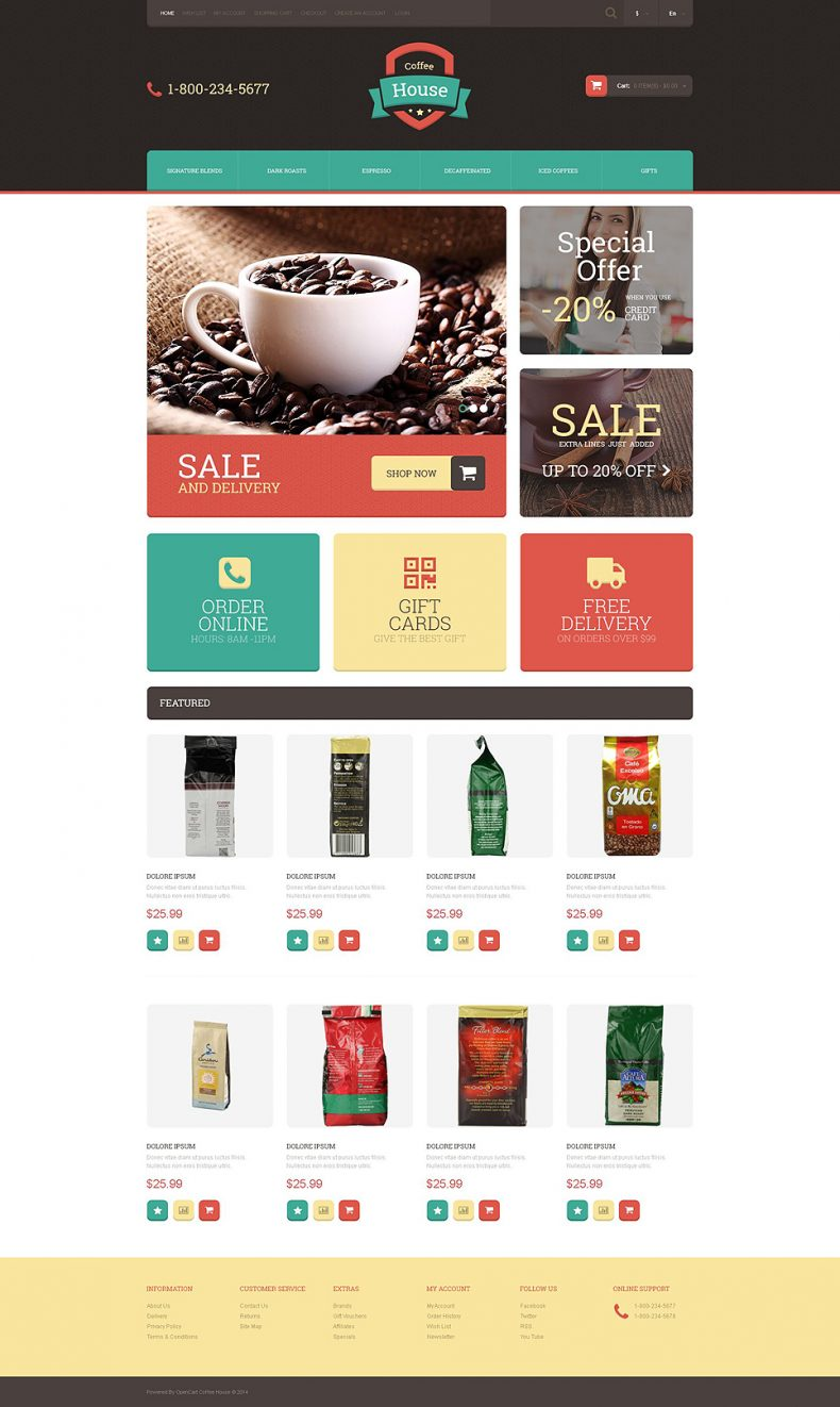 Coffee House – Free OpenCart Template | Free Templates Online